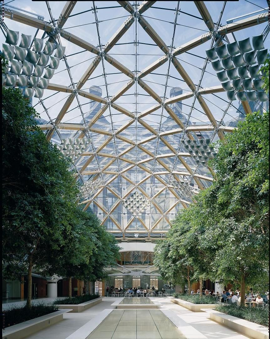 Enclosed Courtyard With Trees At British Parliament The