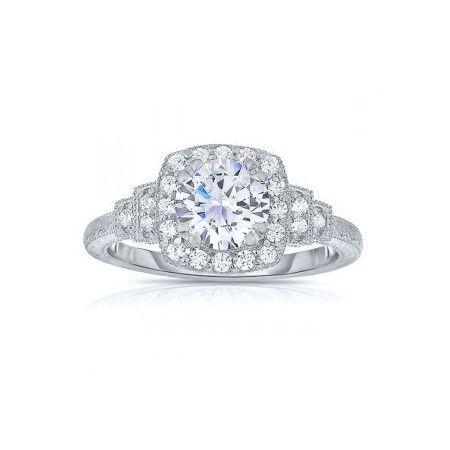14K White Gold Vintage Square Halo Engagement Ring