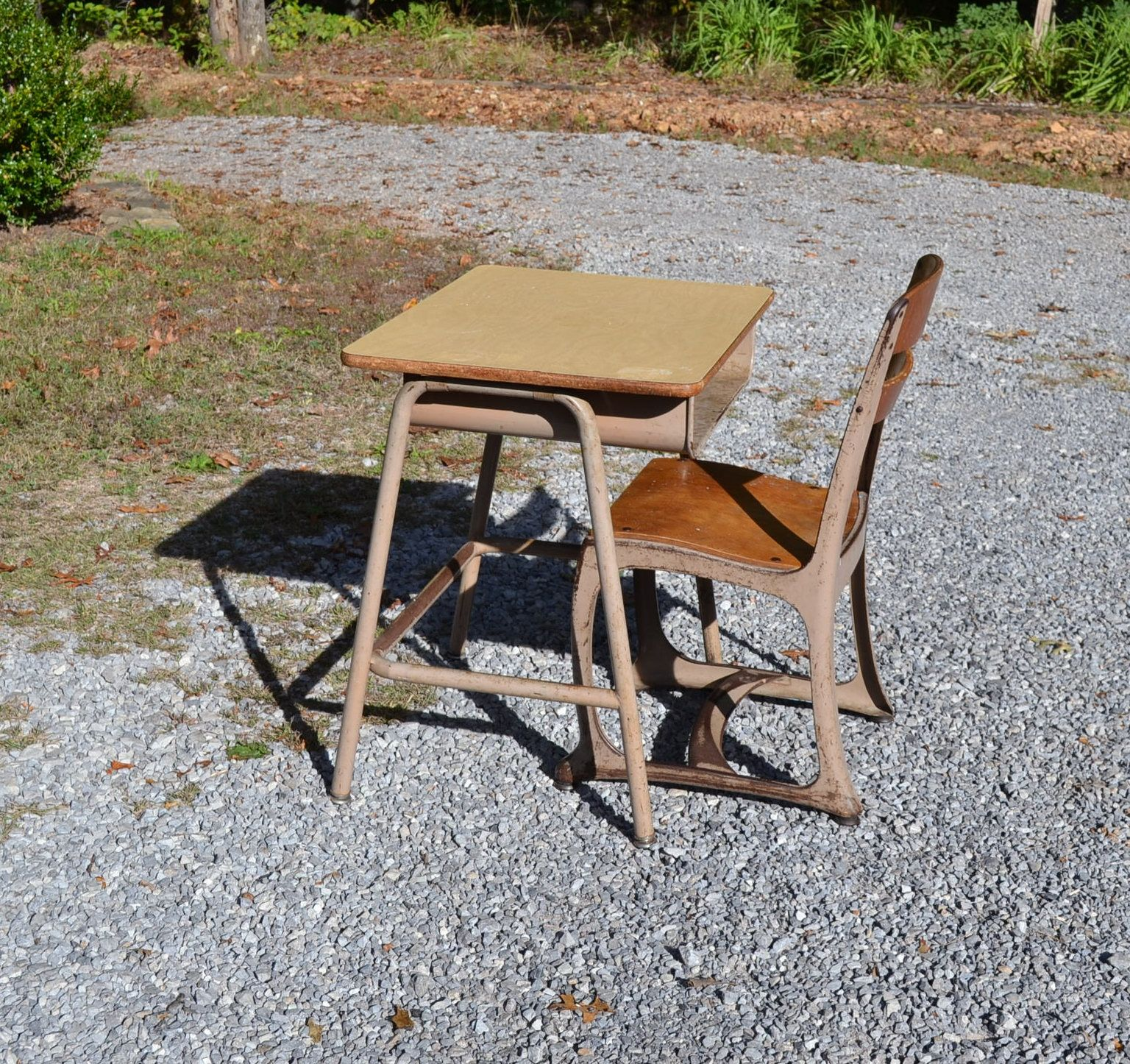 Vintage School Desk And Chair Child Size Metal And Wood Kids Homework Craft  Table Home School Panchosporch By PanchosPorch On Etsy