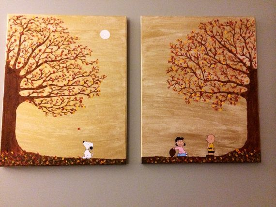 Charlie Brown Fall Canvas Painting By Fabholiday On Etsy With