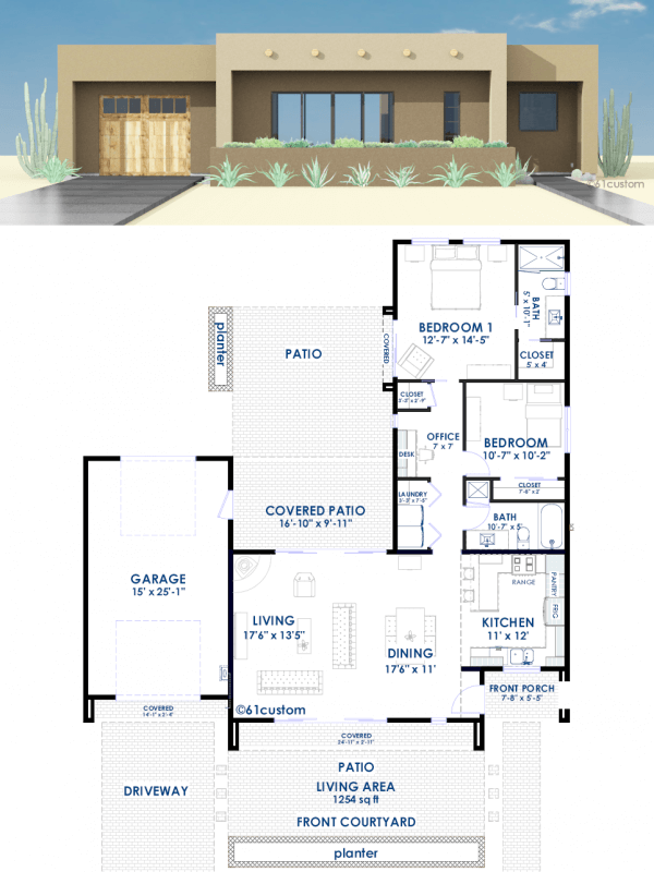 Contemporary Adobe House Plan 61custom House Plans
