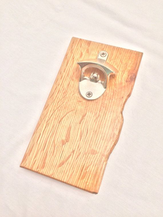 Reclaimed Quarter-Sawn Oak Wall Mount Wooden Bottle Opener with ...