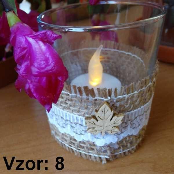 Sklenený svietnik Jarko - Sviečka - S čajovou sviečkou LED (plus 1€), Vzor - Vzor 8
