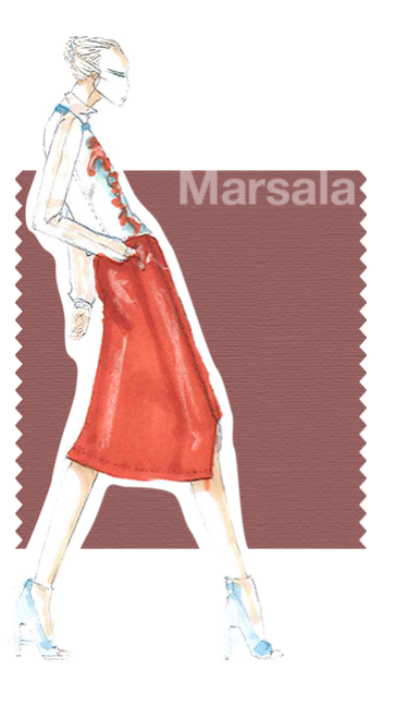 "PANTONE 18-1438 Marsala ""Interesting on its own and a wonderful contrast for other hues, PANTONE 18-1438 Marsala serves as the foundation to the Spring/Summer 2015 palette. Sensual and bold, delicious Marsala is a daringly inviting tone that nurtures; exuding confidence and stability ... .""Leatrice Eiseman Executive Director, Pantone Color Institute®"