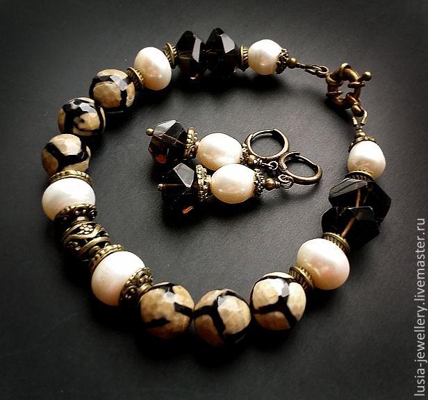 Купить комплект СЕРЕНГЕТИ - коричневый, белый, браслет, cthmub, комплект украшений, авторские украшения