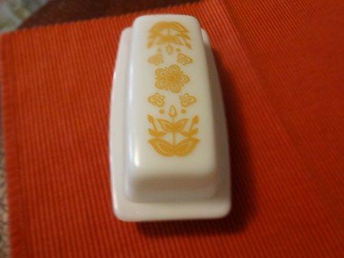 Vintage Milk Glass Butter Dish by Pyrex in Butterfly Gold Pattern | SelectionsBySusan - Kitchen & Serving on ArtFire