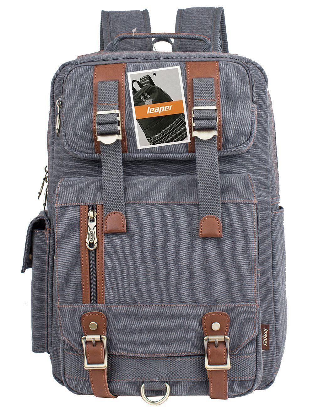 d1101d05d899 Leaper Vintage Canvas Laptop Backpack Travel Rucksack Shoulder ...