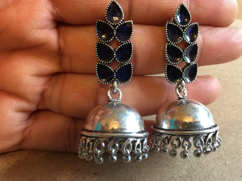 614e9dd2d Excited to share this item from my #etsy shop: German silver jhumka with  dark BLUE meenakari stud, Meena work on Jhumka, Leaf stud jhumka earrings,  ...