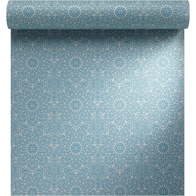 Papier peint vinyle expans sur intiss vibration bleu larg m petit meuble deco - Papier peint sur meuble ...
