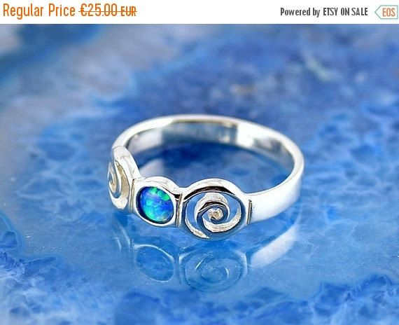 ON SALE opal silver ring spiral ring blue by GreekGoddessJewelry