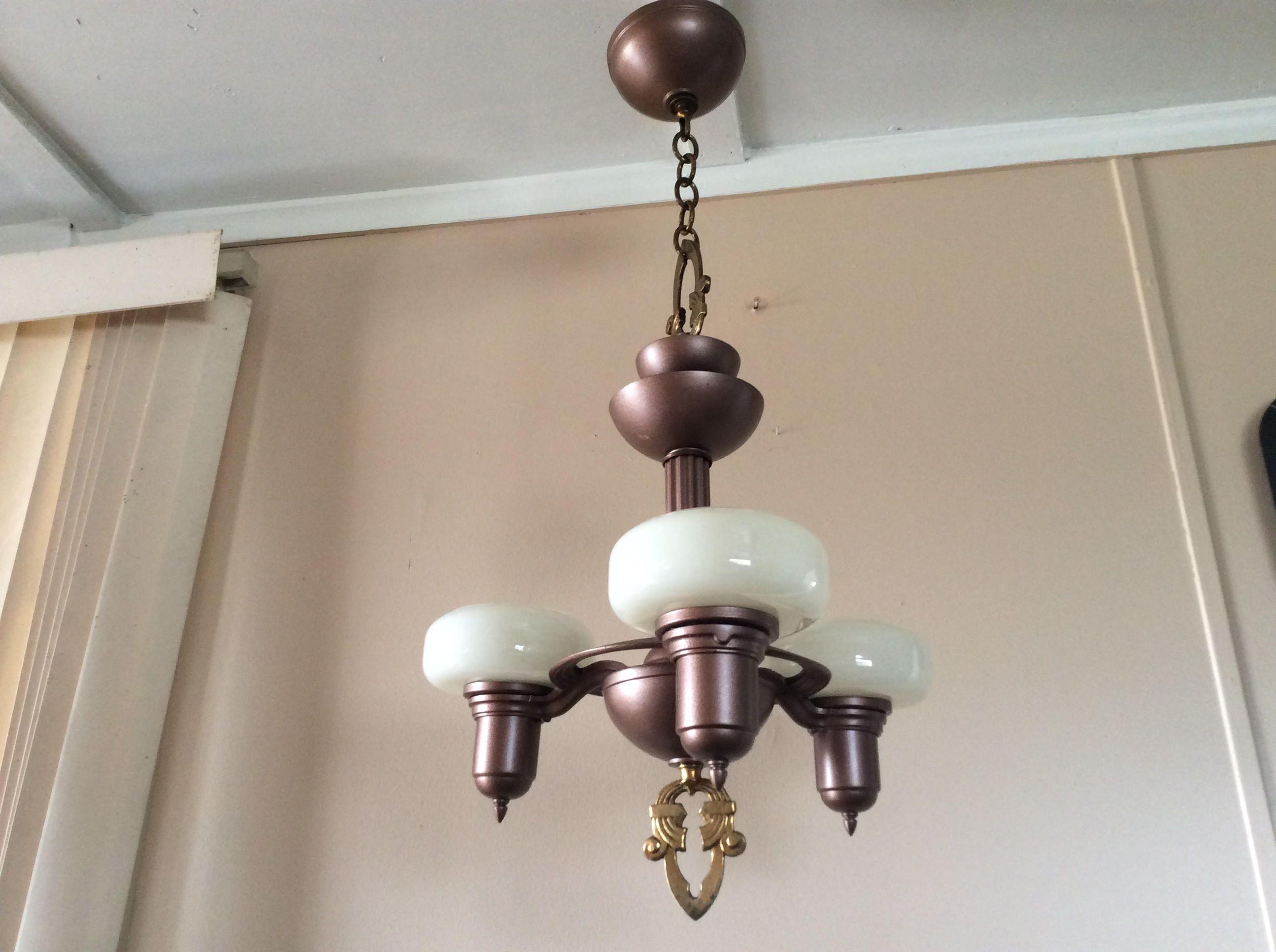 Antique art deco chandelier 3 custard drop in slip shades marked antique art deco chandelier 3 custard drop in slip shades marked frankelite 1930s arubaitofo Image collections