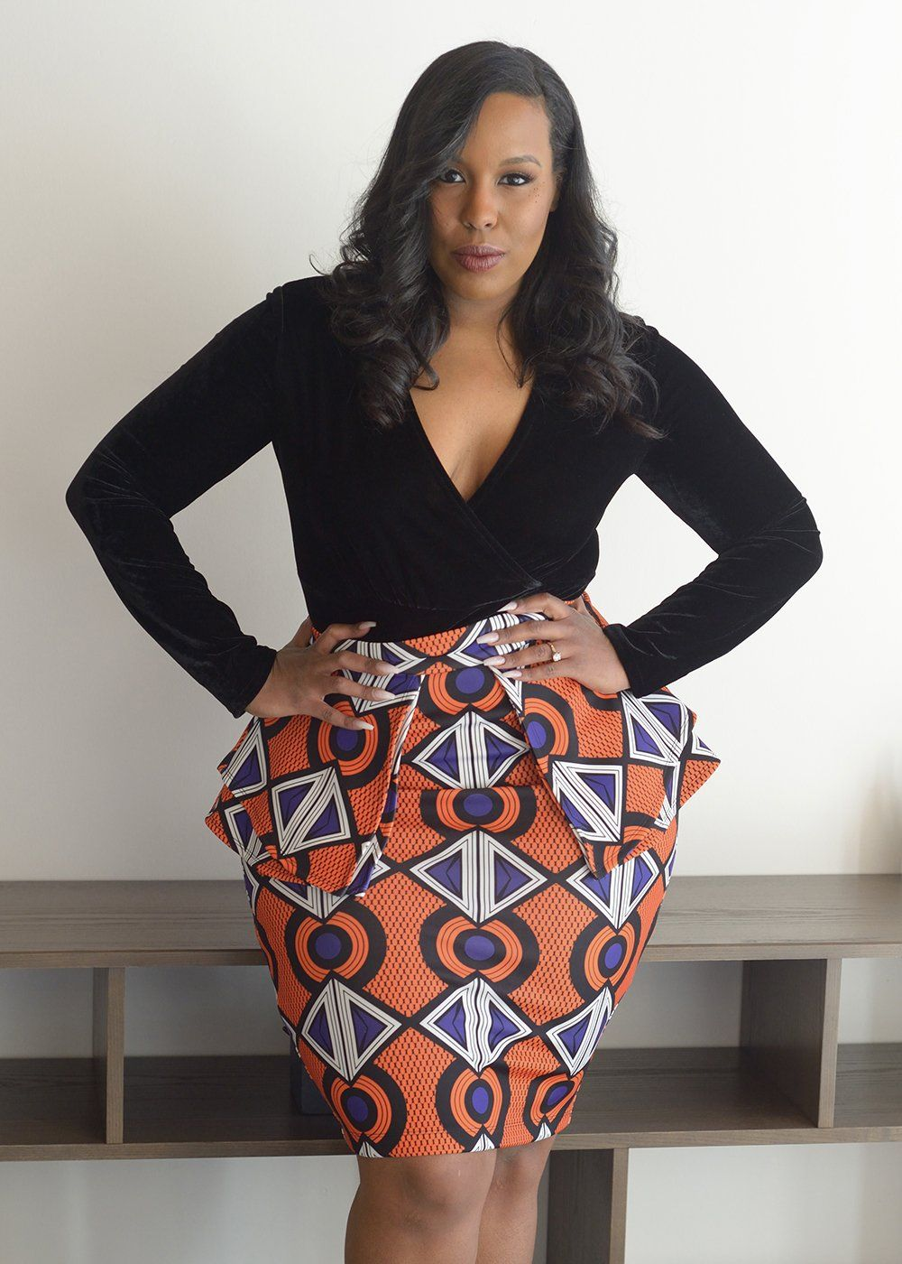 14cca3d316 Toyin Stretch African Print Peplum Pencil Skirt (Orange Purple ...