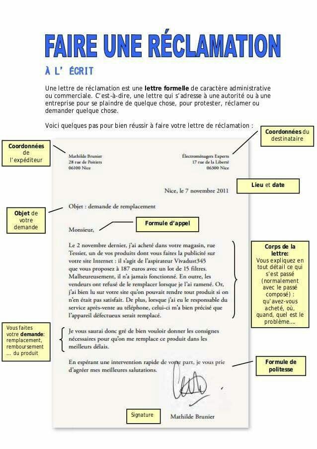 Assez Écrire une lettre de réclamation en français. | Activités de  JL05