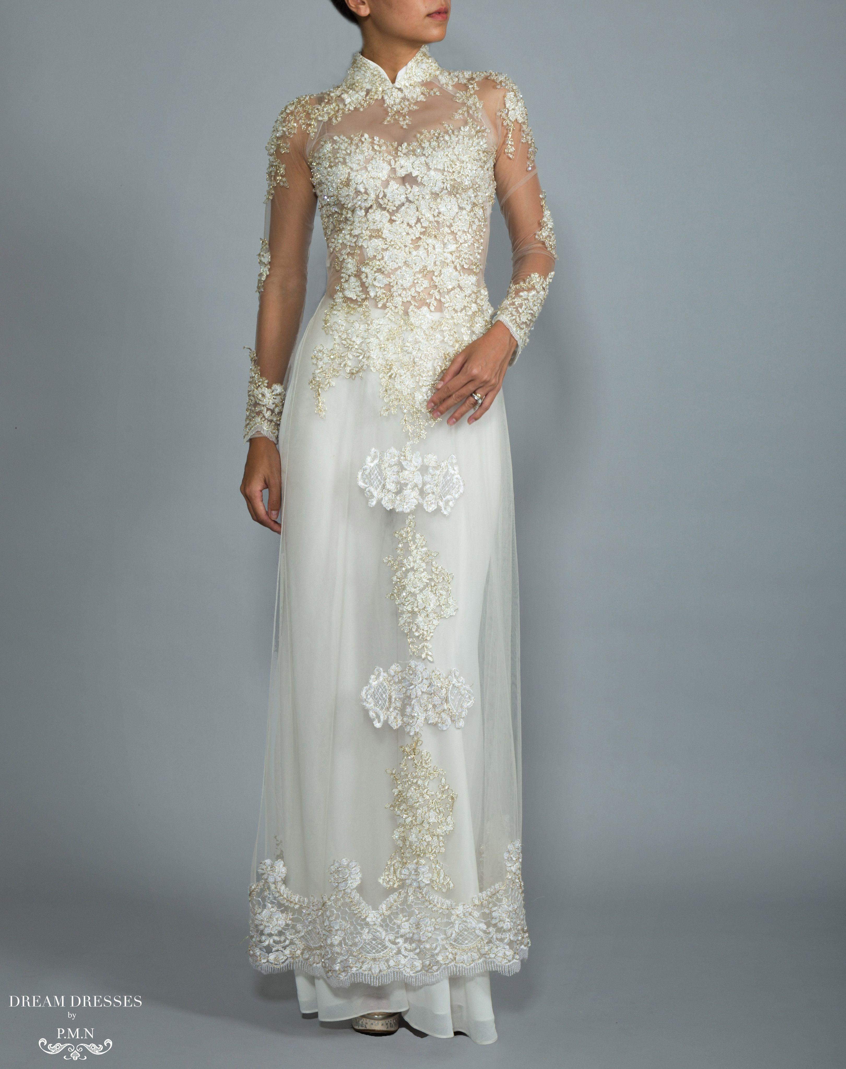 White Ao Dai | Custom Made Vietnamese Bridal Dress (#NADINE) | Ao ...