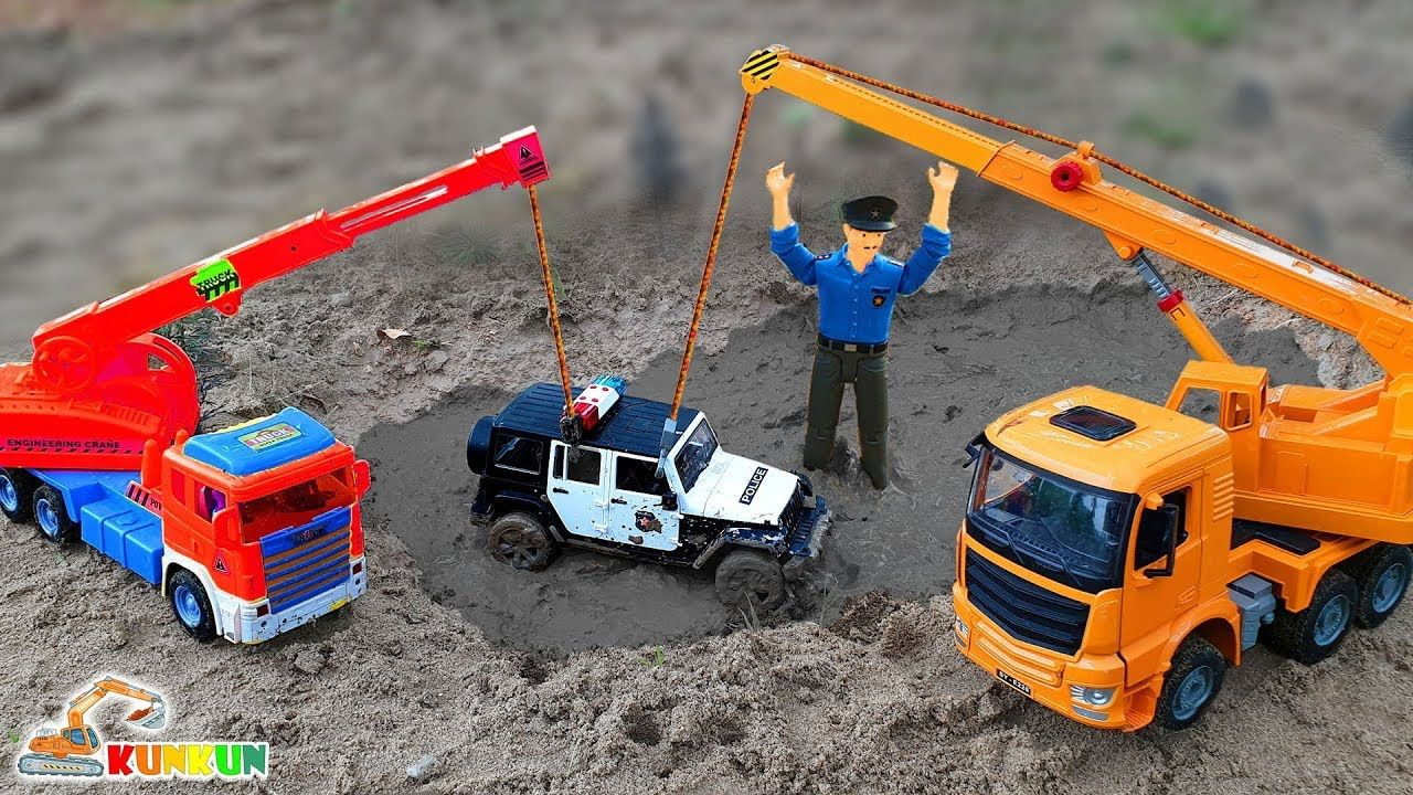 Police Car Jeep Pretend Play Crane Truck Ride on Toys