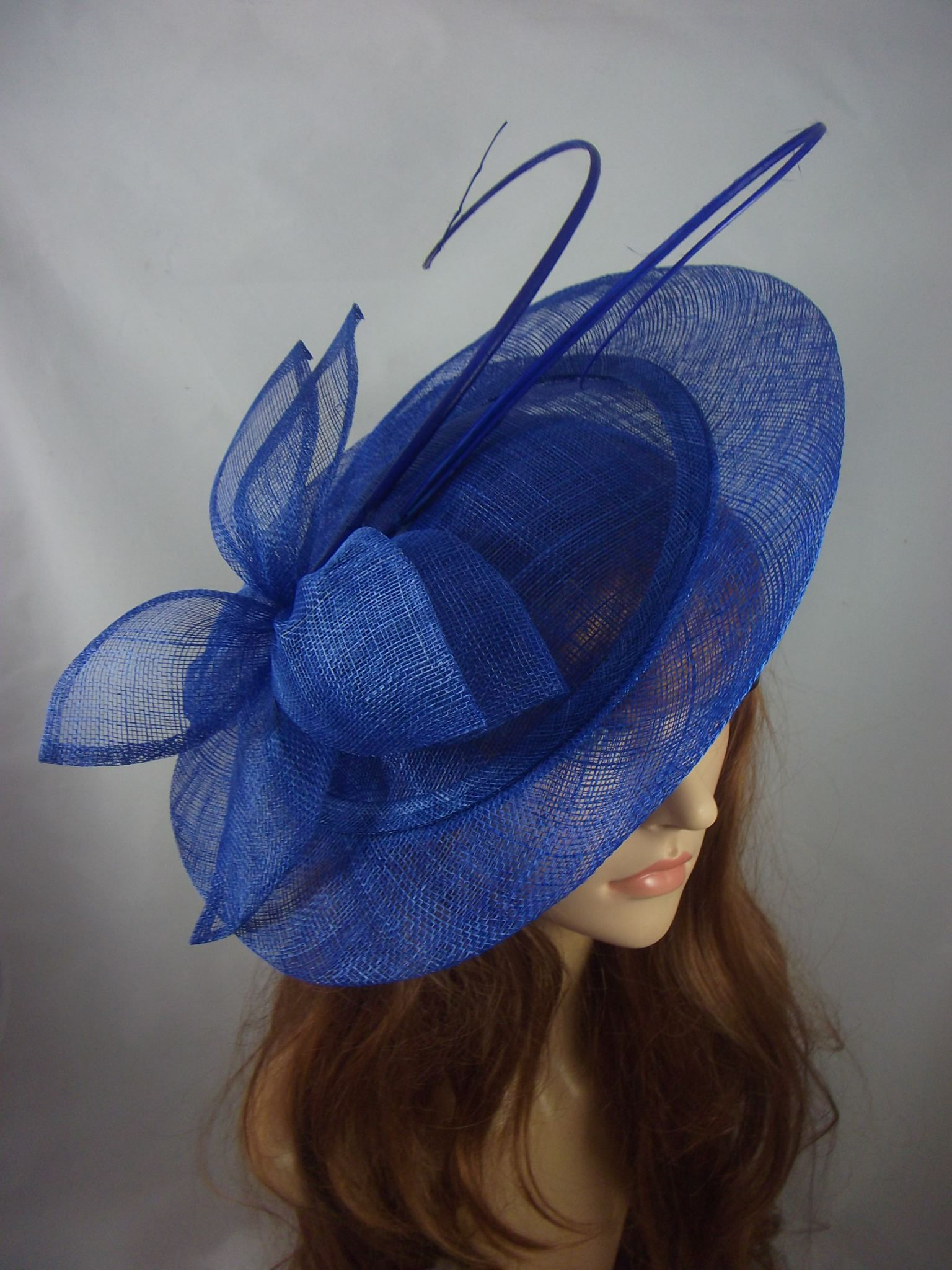 3a38aa3669b Large Sinamay Saucer Fascinator   Ostrich Spiral Spine