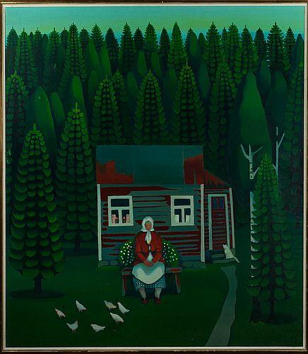 Pirkko Lepistö: Vanha nainen, kanoja ja kissa, öljy kankaalle, 92x80 cm - Bukowskis