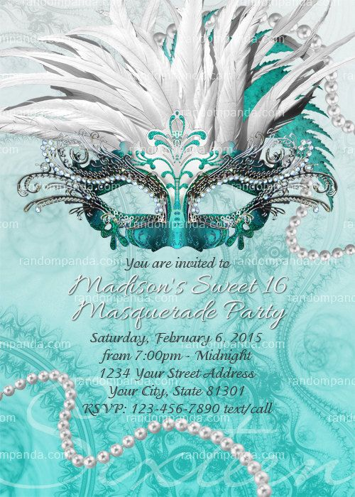 Teal Masquerade Ball Invitation Sweet 16 Party Masquerade Invite