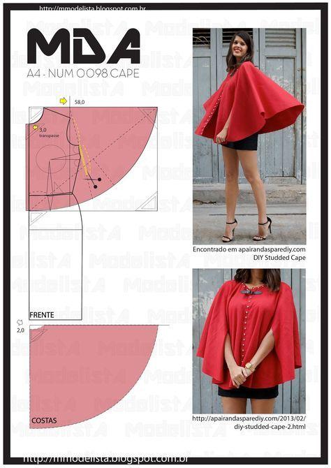A4 NUM 0098 CAPE | a | Pinterest | Sewing, Cape and Cape pattern