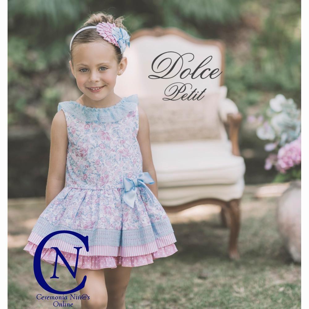 2f8395371 Vestido DOLCE PETIT para niña estampado flores azules
