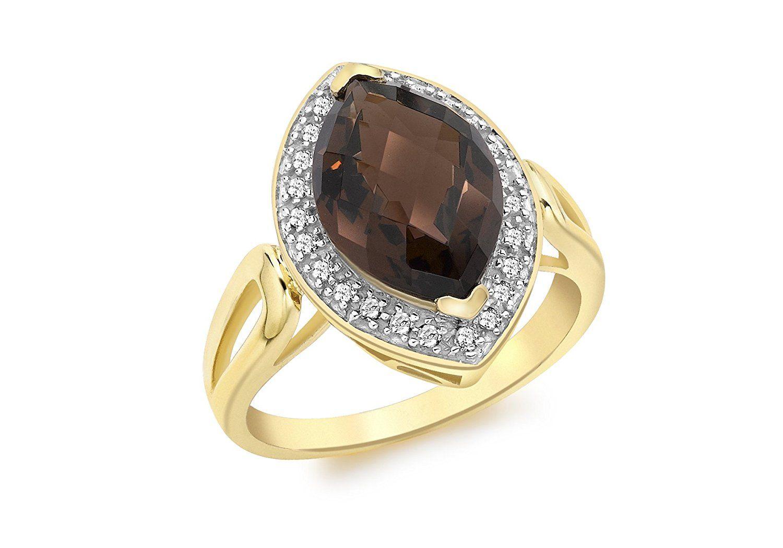 Carissima Gold 9 ct Yellow Gold 0.15 ct Diamond Marquise Ring uWpKHt7rd