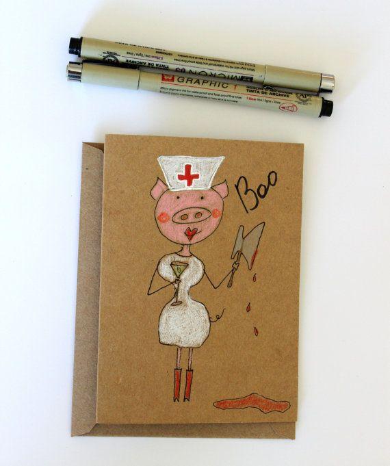 Funny Halloween Card Naughty Halloween Card Sexy Nurse Halloween