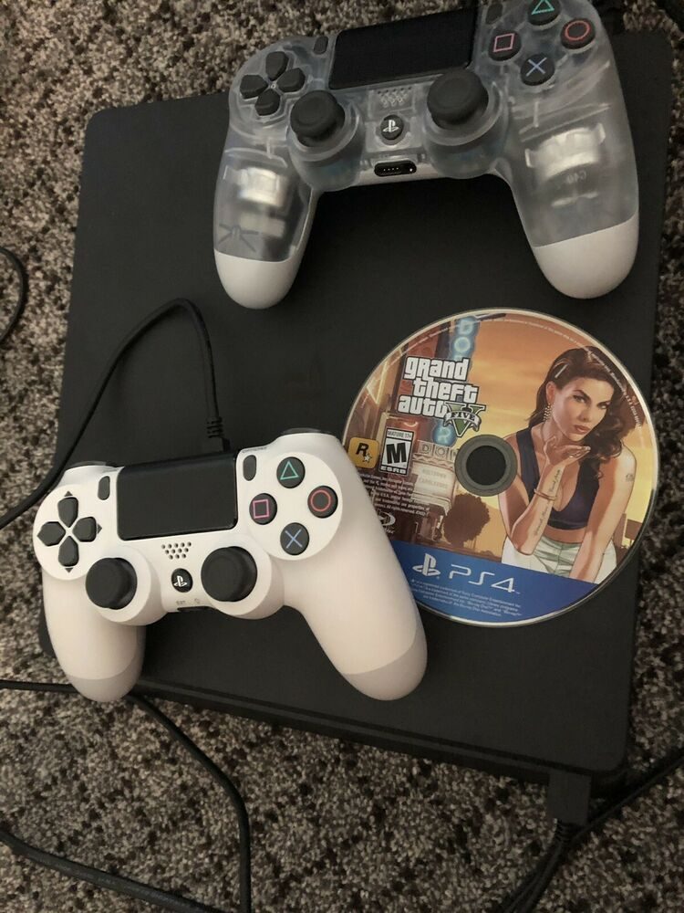 Playstation 4 Slim 1tb Console With 2 Controllers And Gta Bundle Ps4 Gaming Video Playstation 4 Playstation Console