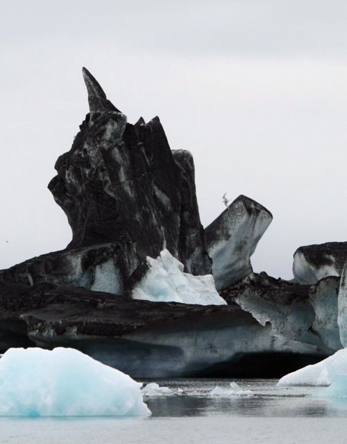 Iceberg covered in volcanic ash