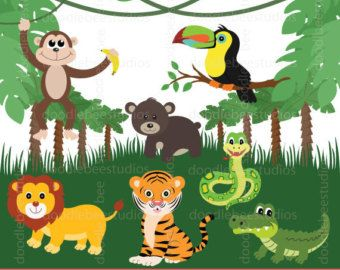 jungle animals clipart and digital paper jungle clipart animals rh pinterest co uk jungle clip art free jungle clipart free