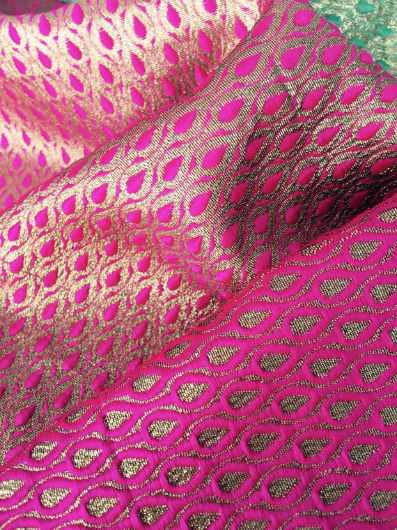 Bright Pink Gold Reversible Brocade Fabric