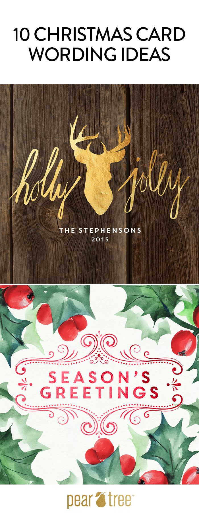 Top 10 Christmas Card Wording Ideas Pear Trees And Holidays