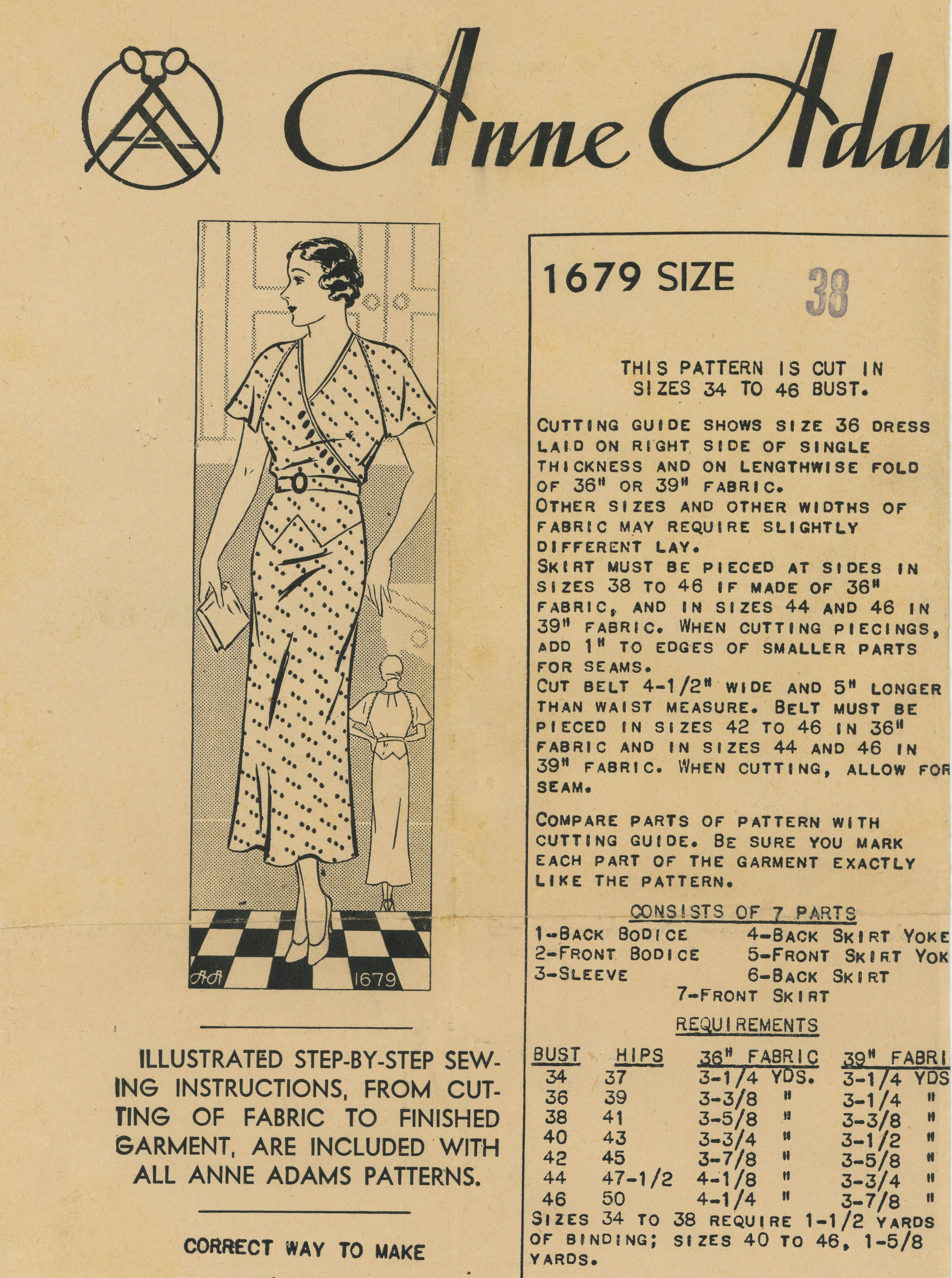 1930s womens dress anne adams 1679 sewing my vintage sewing 1930s womens dress anne adams 1679 1930svintage sewing patternswomens dresses jeuxipadfo Choice Image