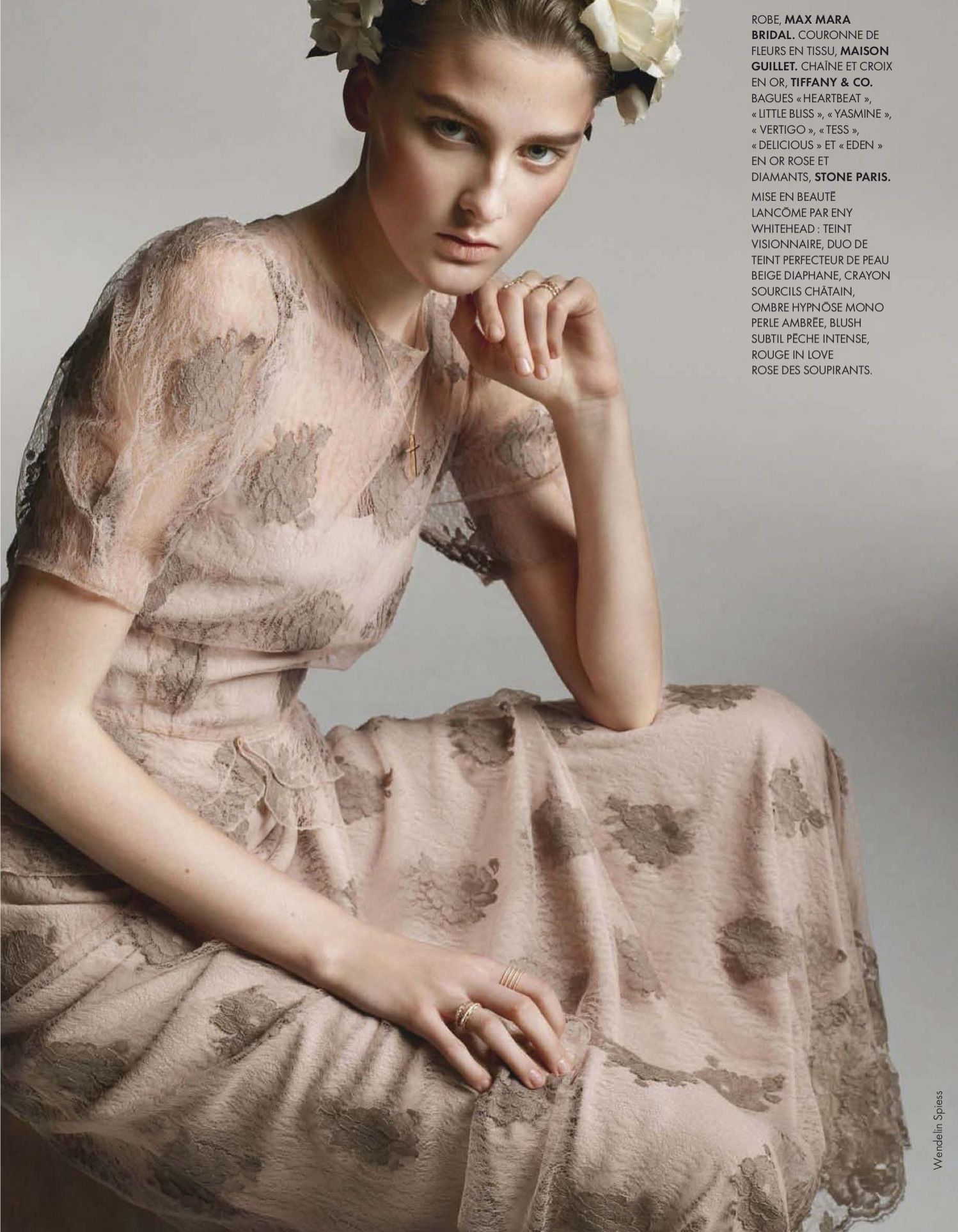 Rose colored wedding dress  pale rosecolored dress Max Mara Bridal Seen in elle the mariage