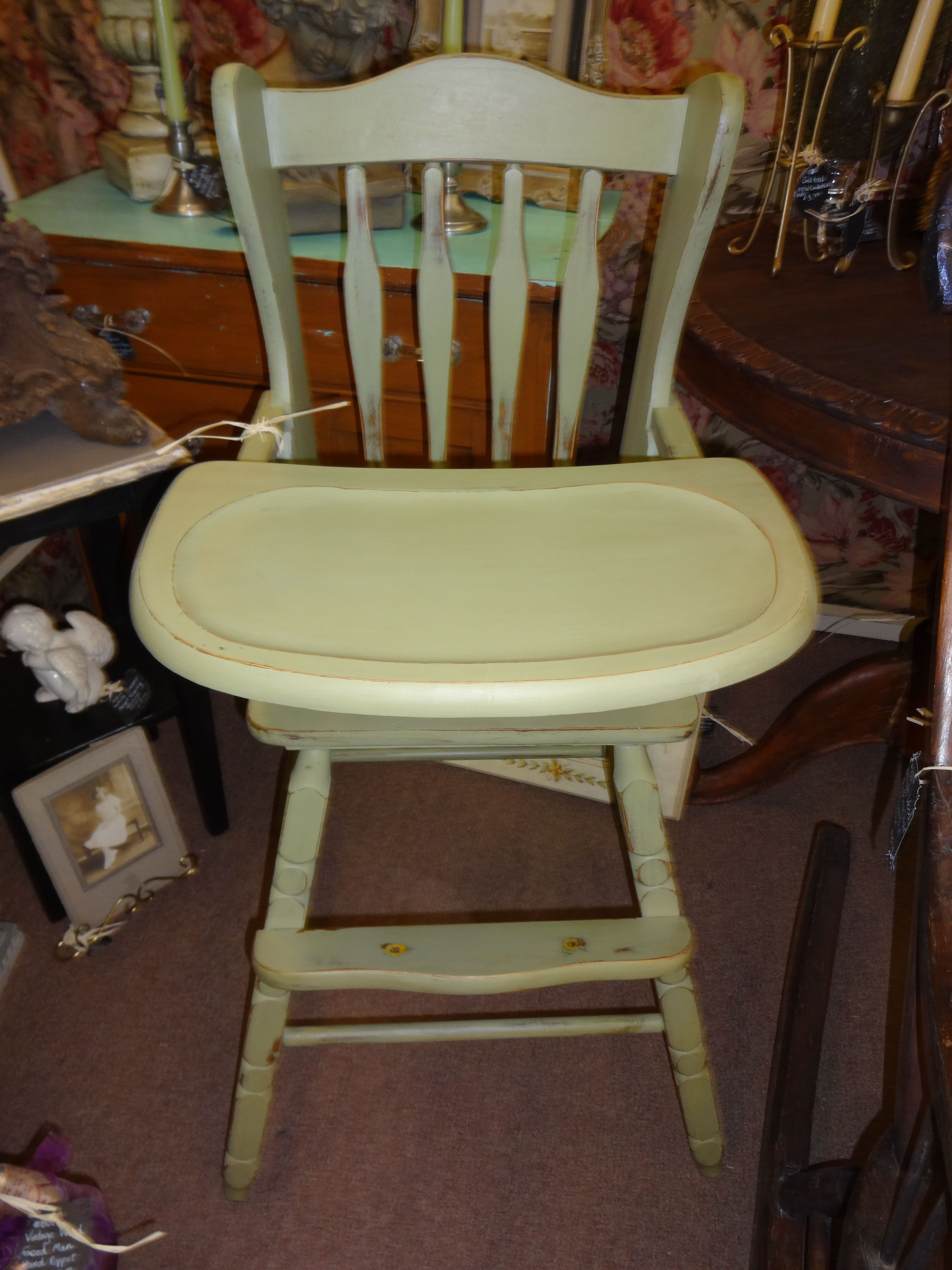Sold this old wood highchair has the tray and has been painted