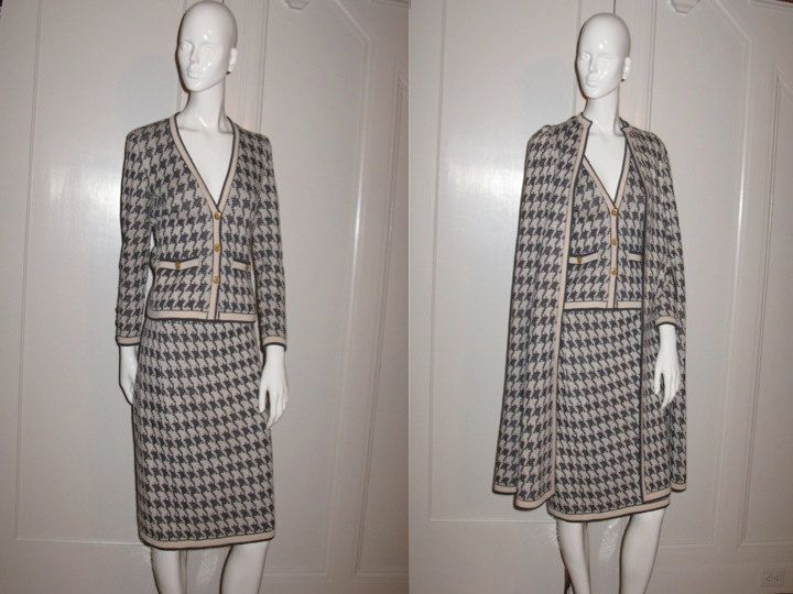 9210a59840142 Vintage 1960s Adolfo at Saks Fifth Avenue 3 Piece Knit Skirt Suit ...