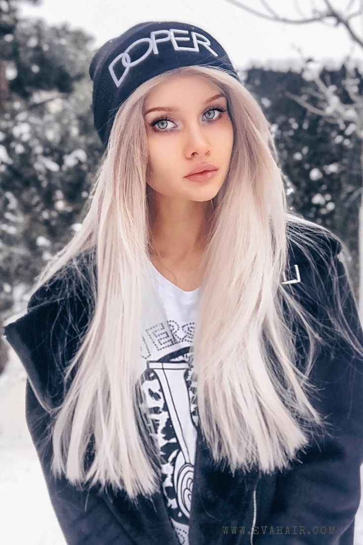 Chic blonde long natural straight hair for daily wearing