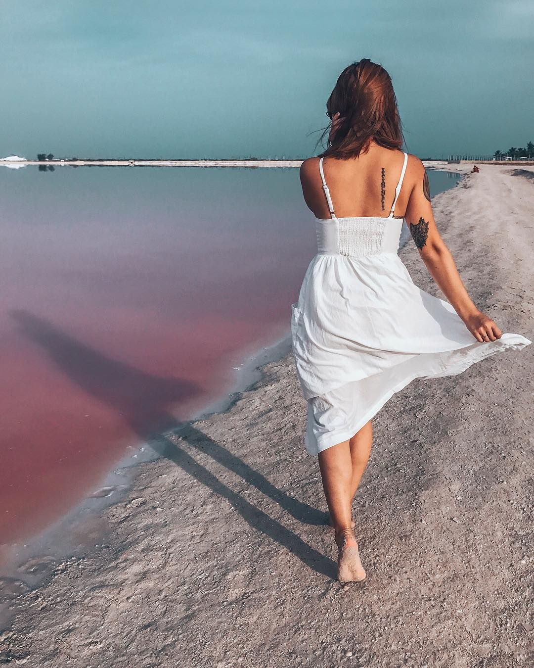 Pink Lagoon and Pink Sand Beaches, Los Colorados in Rio Lagartos, Yucatan Peninsula, Mexico  |  Travel & Style, Beach Vibes, Outdoors, Adventure. Instagram Photograph @finding.jules