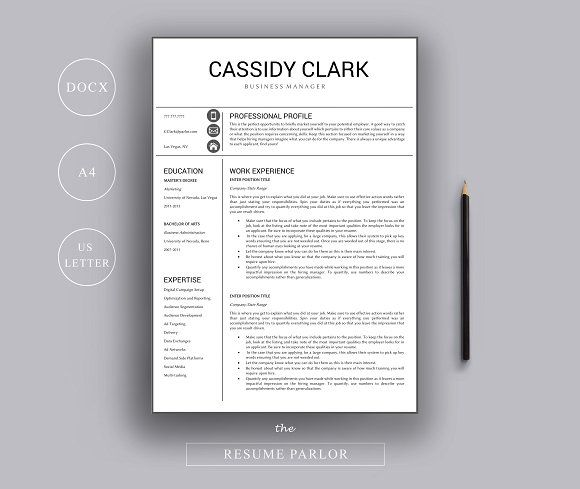 Resume Template A4 + US Letter by The Resume Parlor on - professional nurse resume template