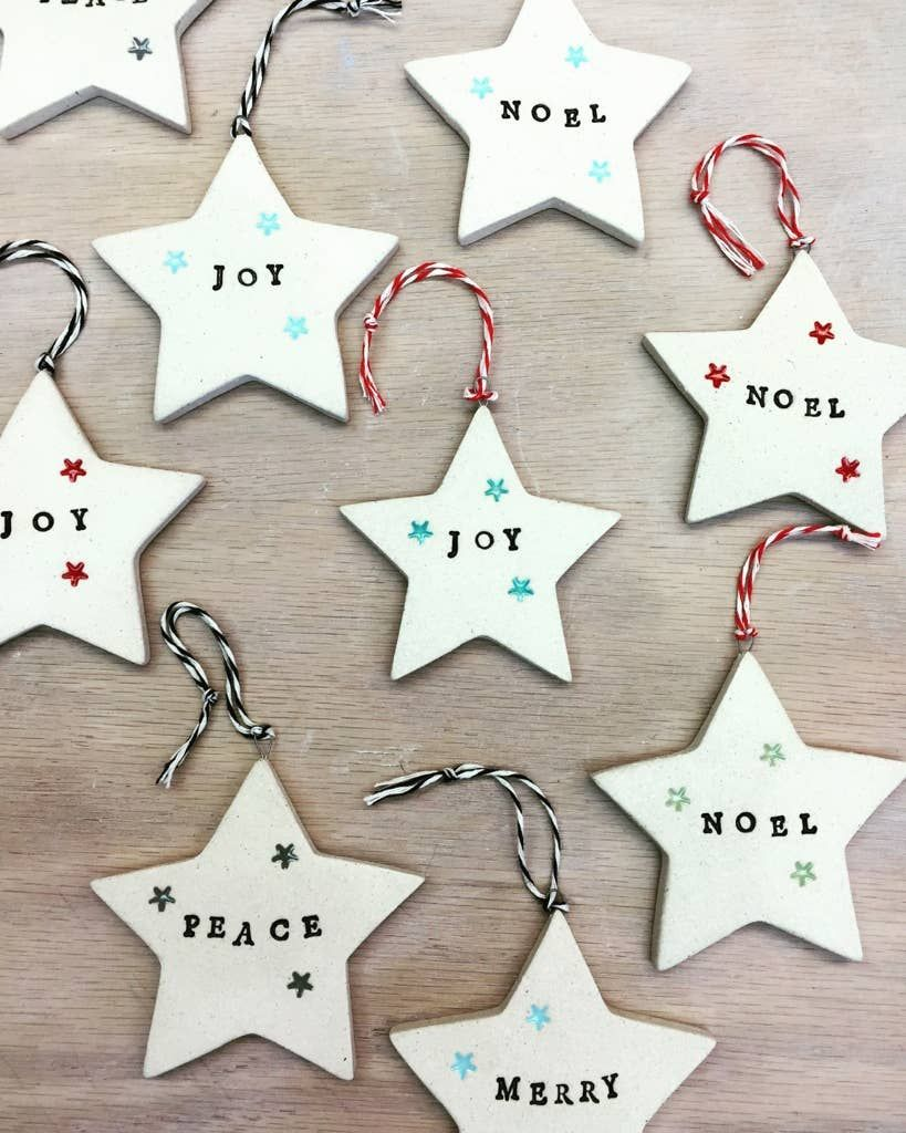 Handmade Starry Star Sentiment Holiday Ornaments In 2020 Pottery Ornaments Clay Christmas Decorations Christmas Crafts Diy Decoration