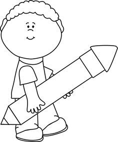 Image Result For Cartoon Kids Writing Black And White Clip Art
