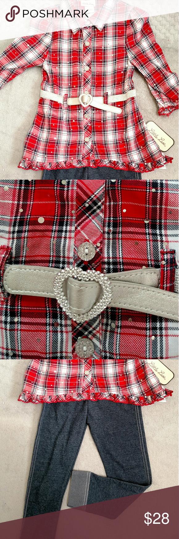 Bondage belt red plaid