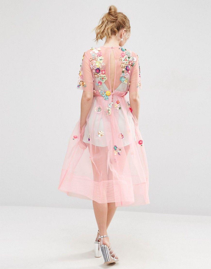 Imagen 2 de Vestido a media pierna con adornos y flores 3D de ASOS ...