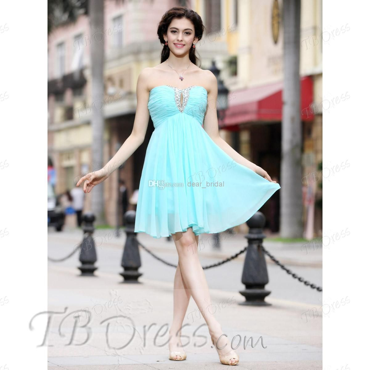 Cheap Party Dresses - Discount Strapless Beaded Chiffon Party ...
