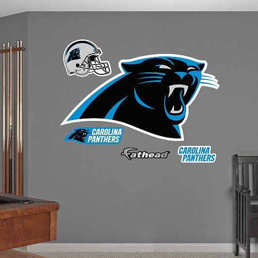 Carolina panthers logo wall decal shop fathead for decor also men cave and panther nation rh pinterest