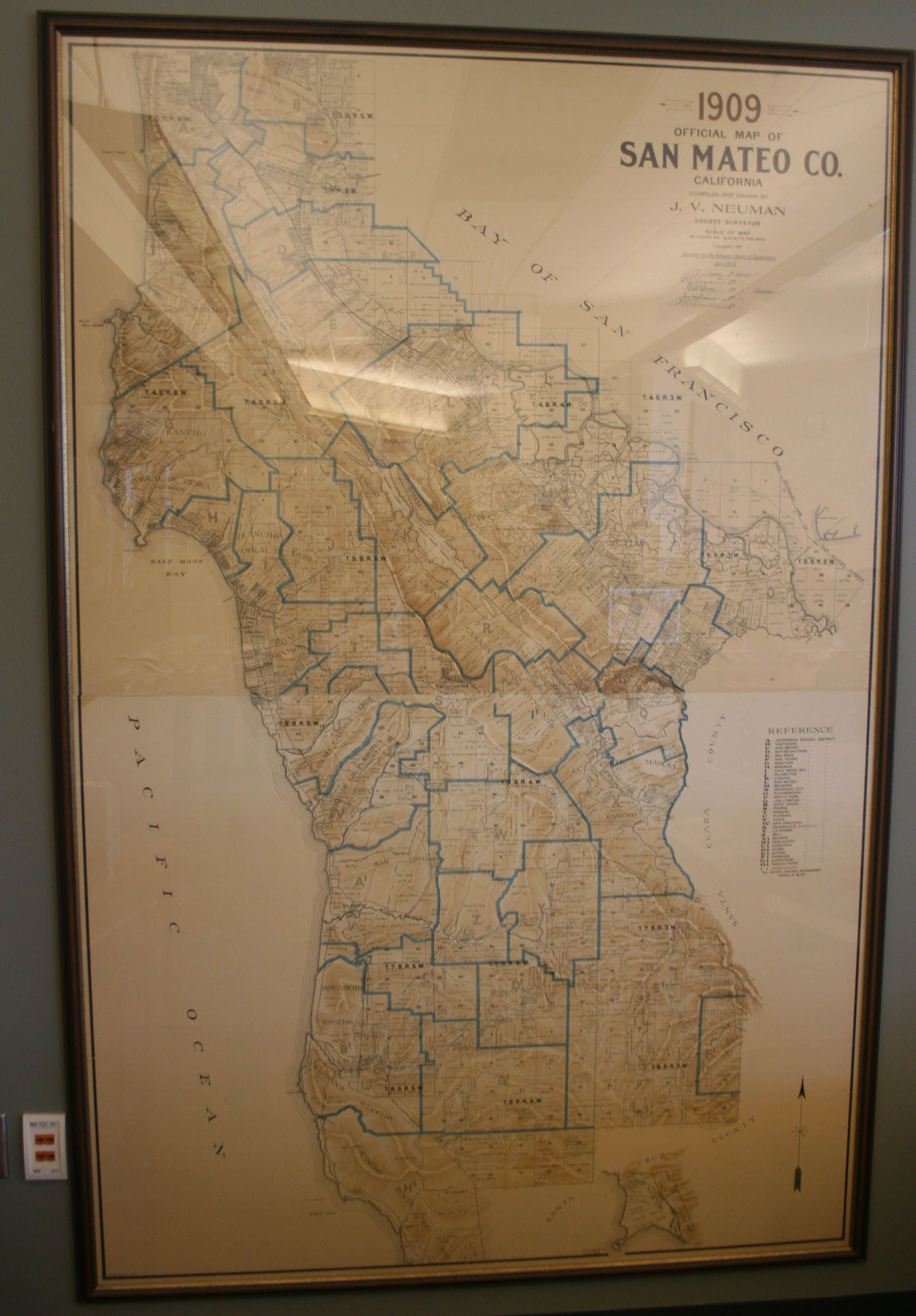 1909 Map of San Mateo County On