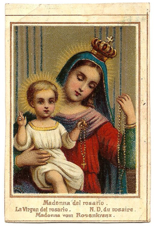 Our lady of the rosary virgin mary baby jesus antique holy card our lady of the rosary virgin mary baby jesus by 12starsvintage altavistaventures Choice Image