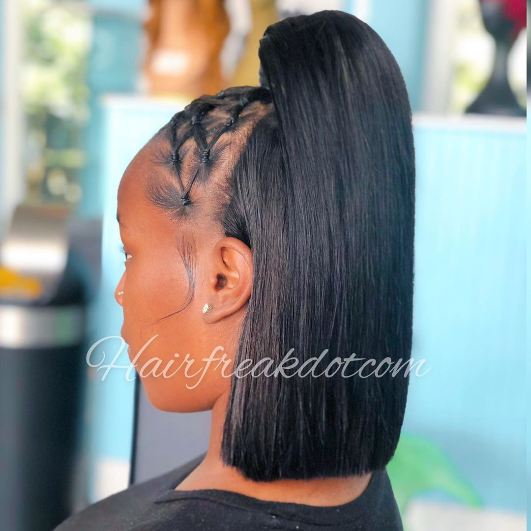 Style Half Up Bob Quick Weave It S Glueless Client Shamaya Status Hot Cute Hairstyles For Short Hair Quick Weave Hairstyles Sleek Ponytail Hairstyles