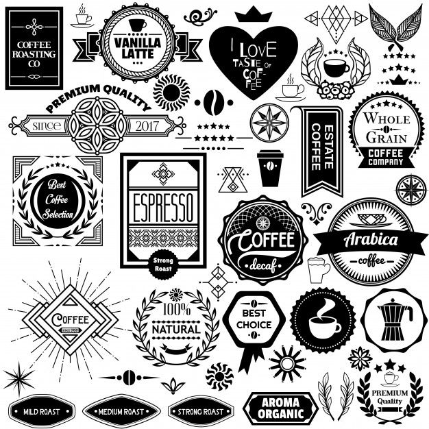 Download Set Of Coffee Badges Labels And Stickers For Free Vector Free Sign Mockup Stamp Design