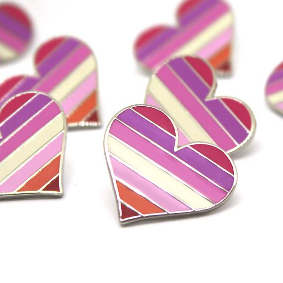 31ca8e412fb Lesbians pin heart flag as the perfect decoration for your bags / clothes  or whatever you