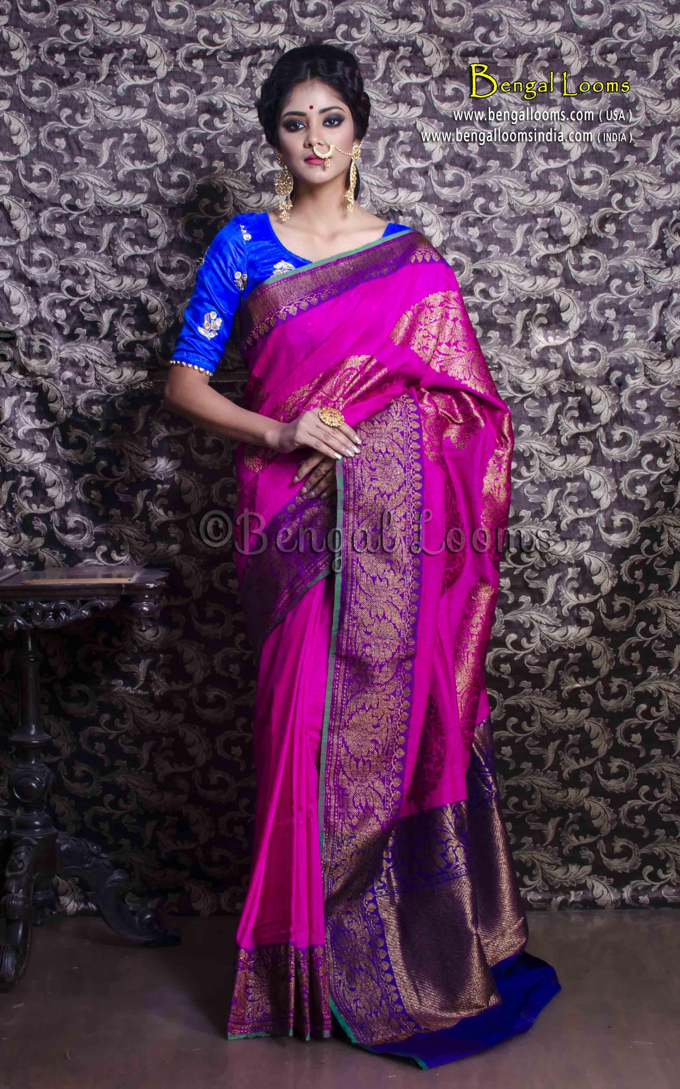 dc07723541 Pure Handloom Tussar Silk Banarasi Saree in Hot Pink and Blue ...
